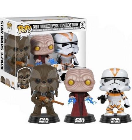 Funko Star Wars POP - Tarfull, Unhooded Emperor, Utaau Clone 3-pack